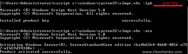 Server 2008 R2 Core Activation