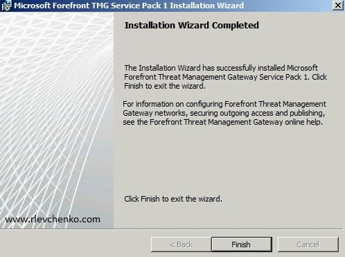 Verify that SP1 installed successfully and click