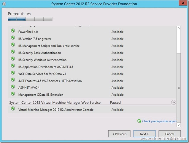 Step-by-step installation of Service Provider Foundation 2012 R2