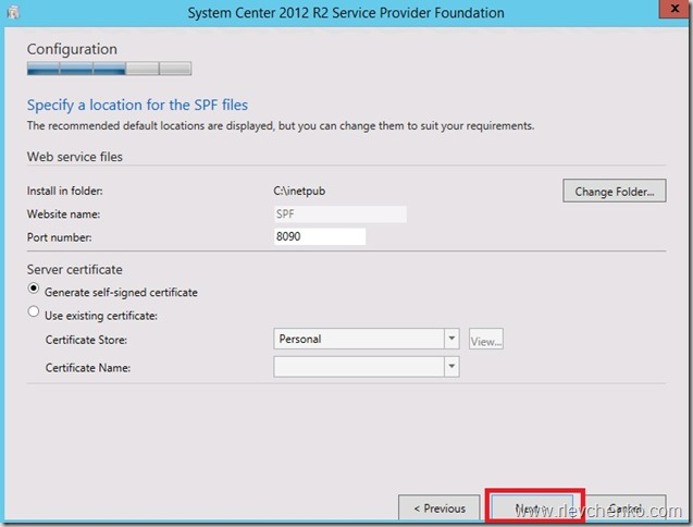 Step-by-step installation of Service Provider Foundation