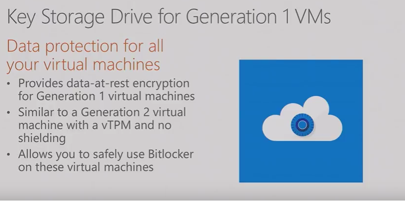 Key Storage Drive For Generation 1 VM Hyper-V WS 2016