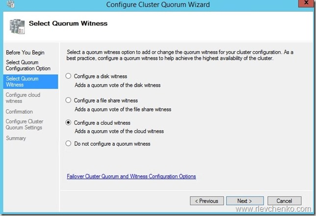 windows server 2016 azure cloud witness