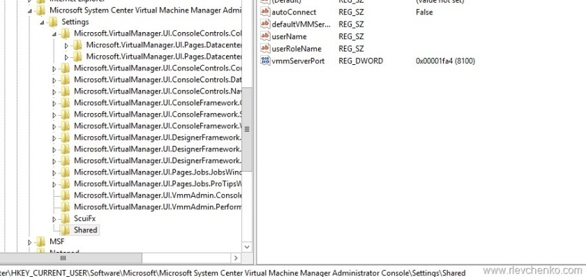 VMM Console auto-connect settings in registry