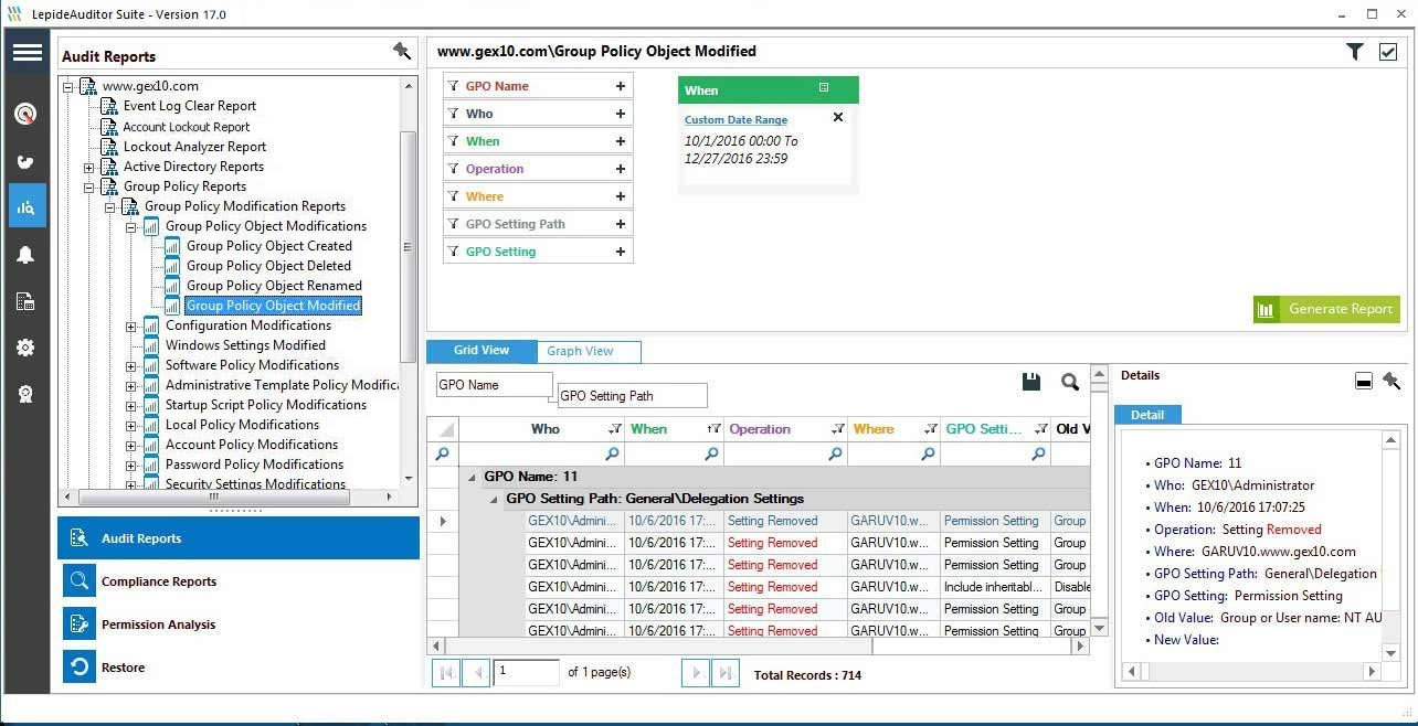 How easy is it to track Group Policy changes using the event