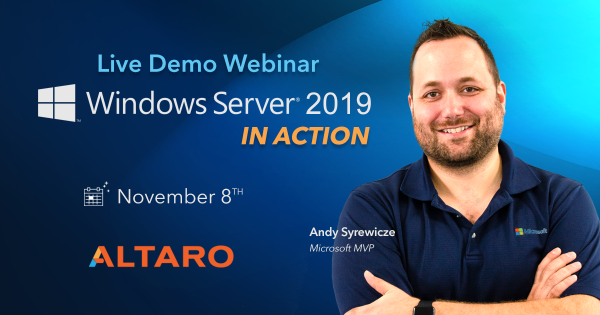 Altaro - live Demo Webinar - Windows Server 2019 In Action -1200x628-no-cta1